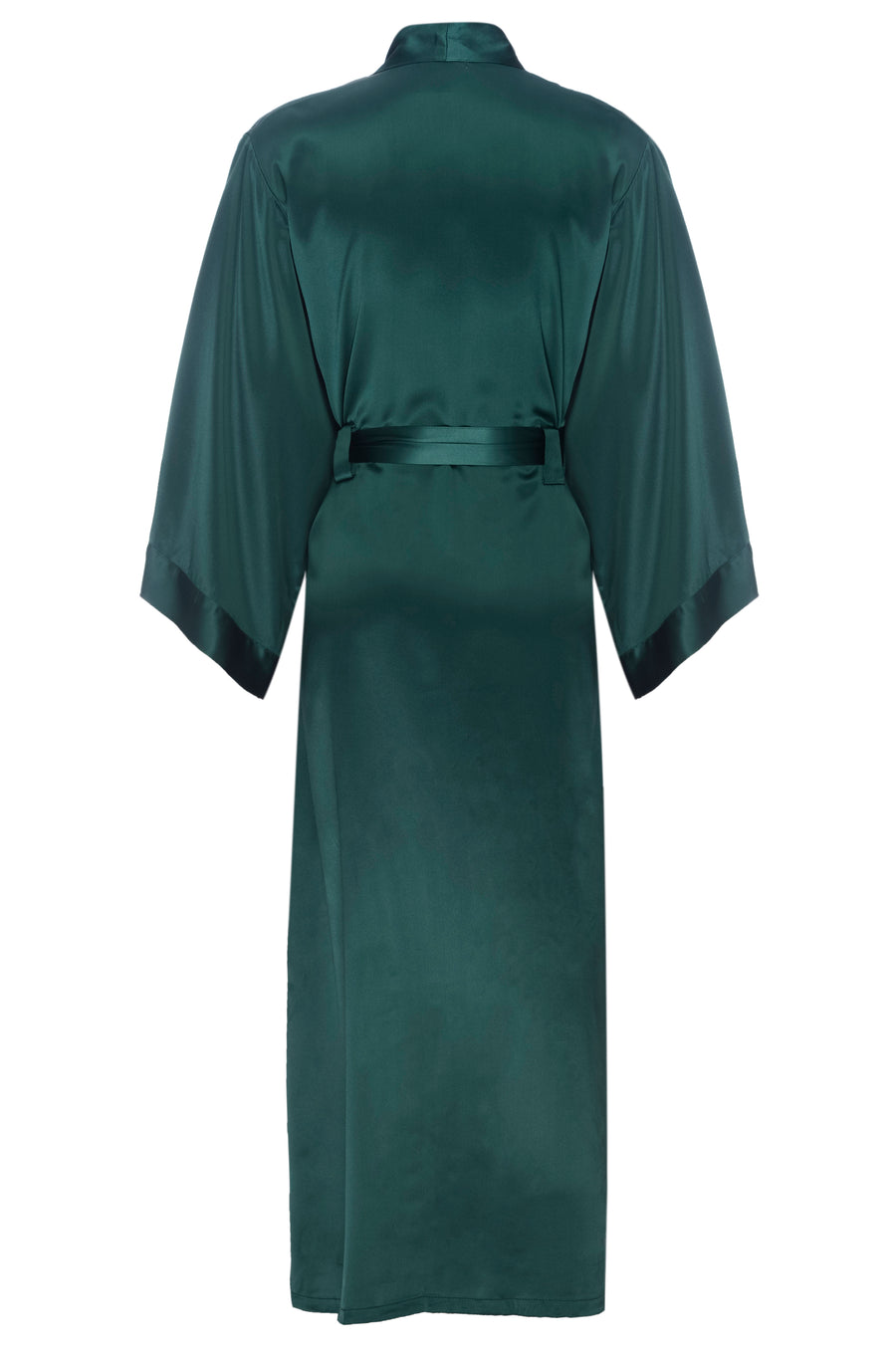 Silk Charmeuse Long Silk Robe:  Emerald Green