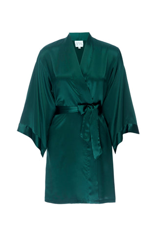 NEW HOLIDAY: Emerald Green Silk Rob- Short