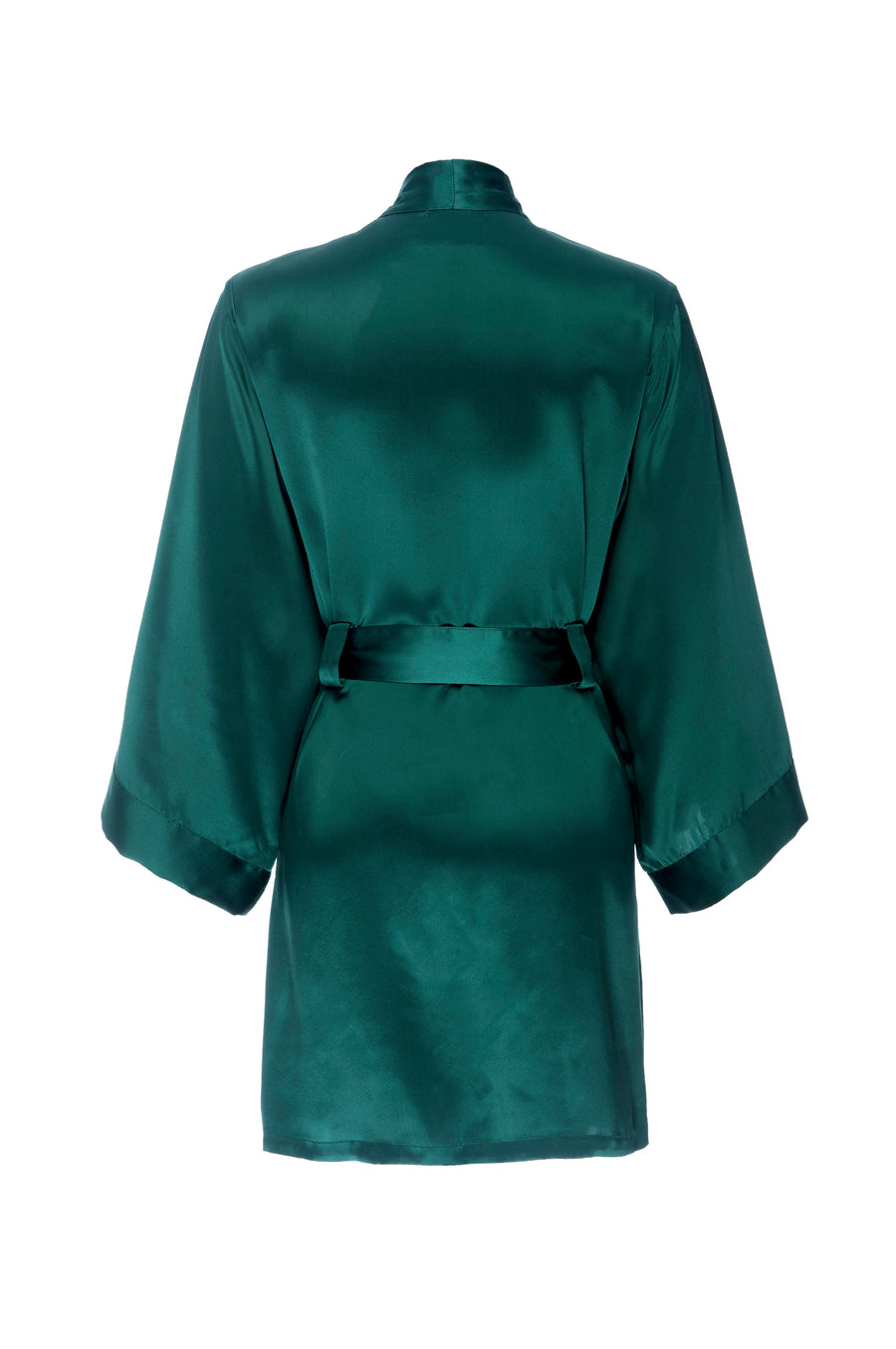 Silk Charmeuse Short Silk Robe: Emerald Green Robe