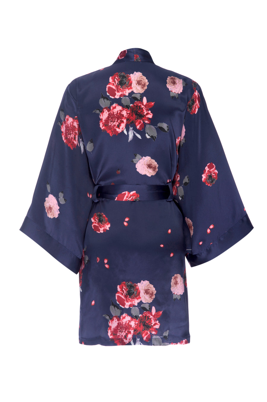 Navy Rose Print Silk Robe - Short