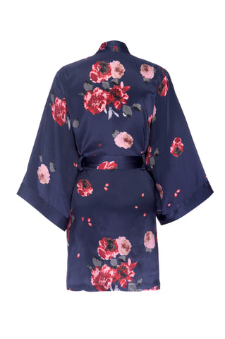 NEW HOLIDAY: Navy Rose Print Silk Robe- Short
