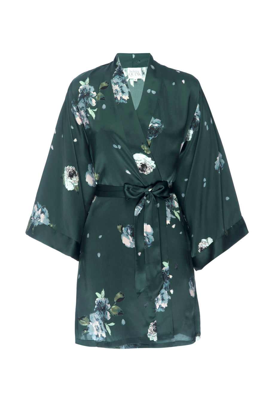 Silk Charmeuse Short Silk Robe: Emerald Rose Print