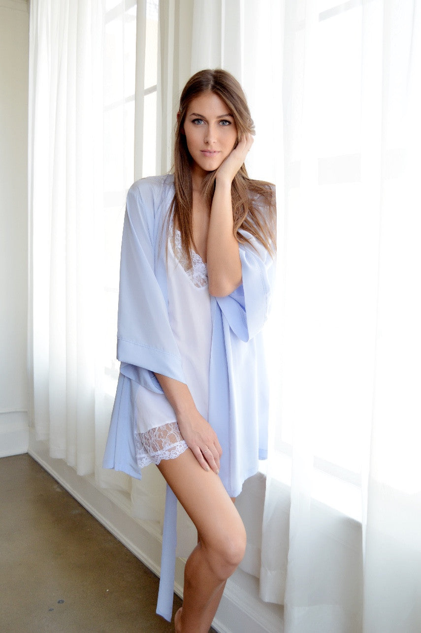 Silk Charmeuse Short Robe: Ice Blue