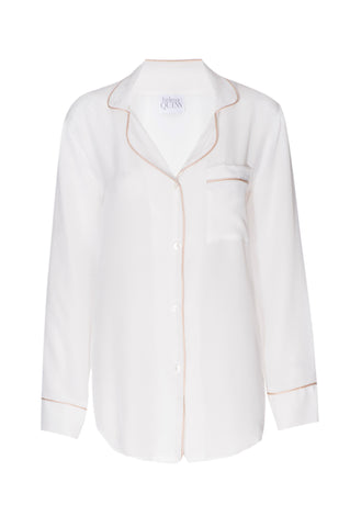 BEST SELLER: 'Porcelain' White Silk Boyfriend Shirt with Nude Piping