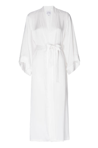 NEW: 'Porcelain' White Silk Robe- FULL LENGTH