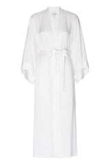 BEST SELLER: 'Porcelain' White Silk Robe- FULL LENGTH