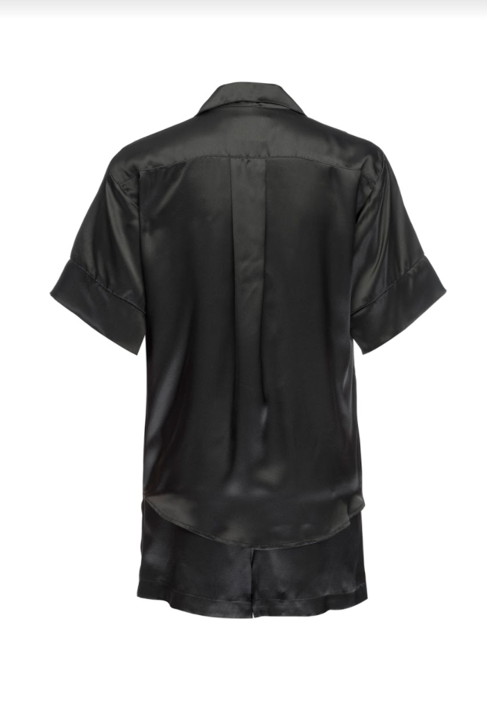 Silk Charmeuse Short Sleeved PJ Top: Black