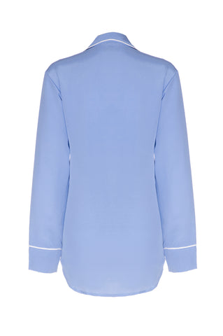 NEW: 'Venice Blue' Silk Boyfriend Shirt with White Piping