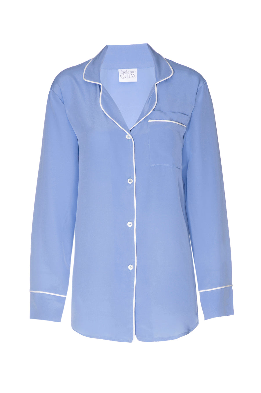 Silk Boyfriend Shirt: Ice Blue