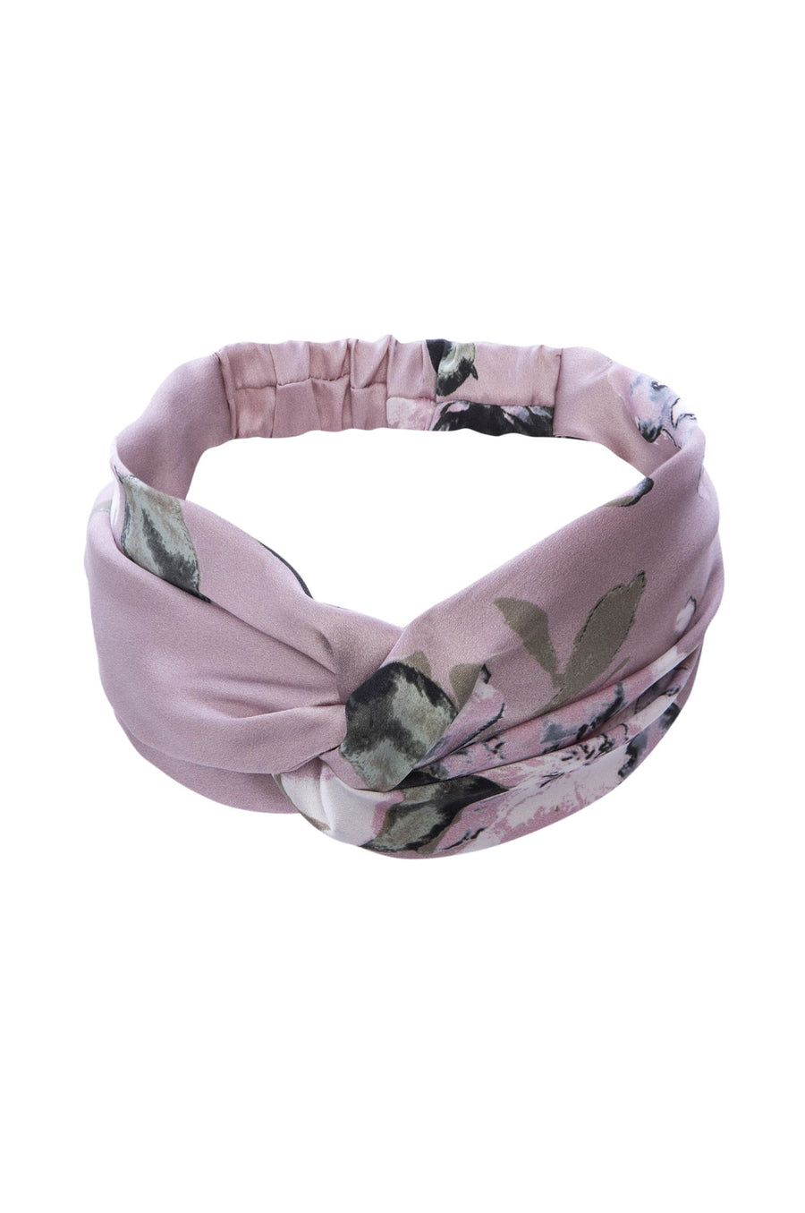 Silk Charmeuse 'Lovey' Headband: Champagne Floral Print