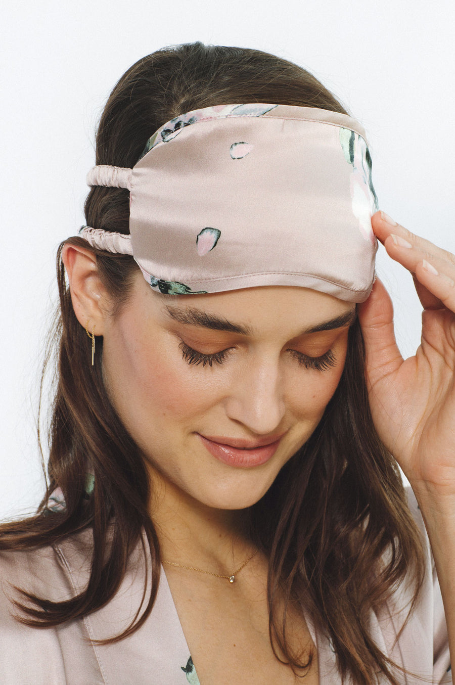 NEW: Champagne Floral Print Silk Sleep Mask