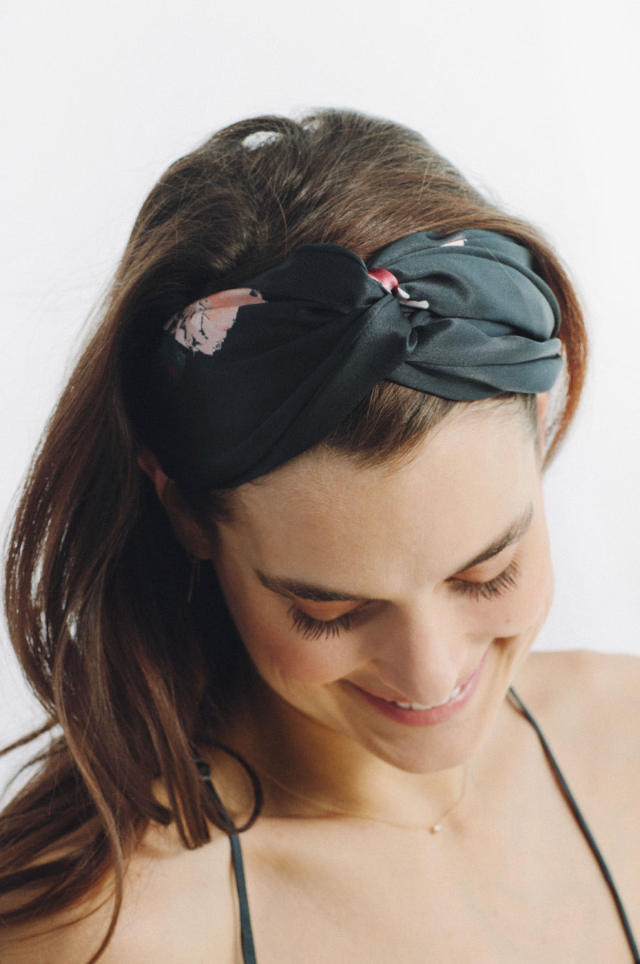 Silk Charmeuse 'Lovey' Headband: Black Rose Print