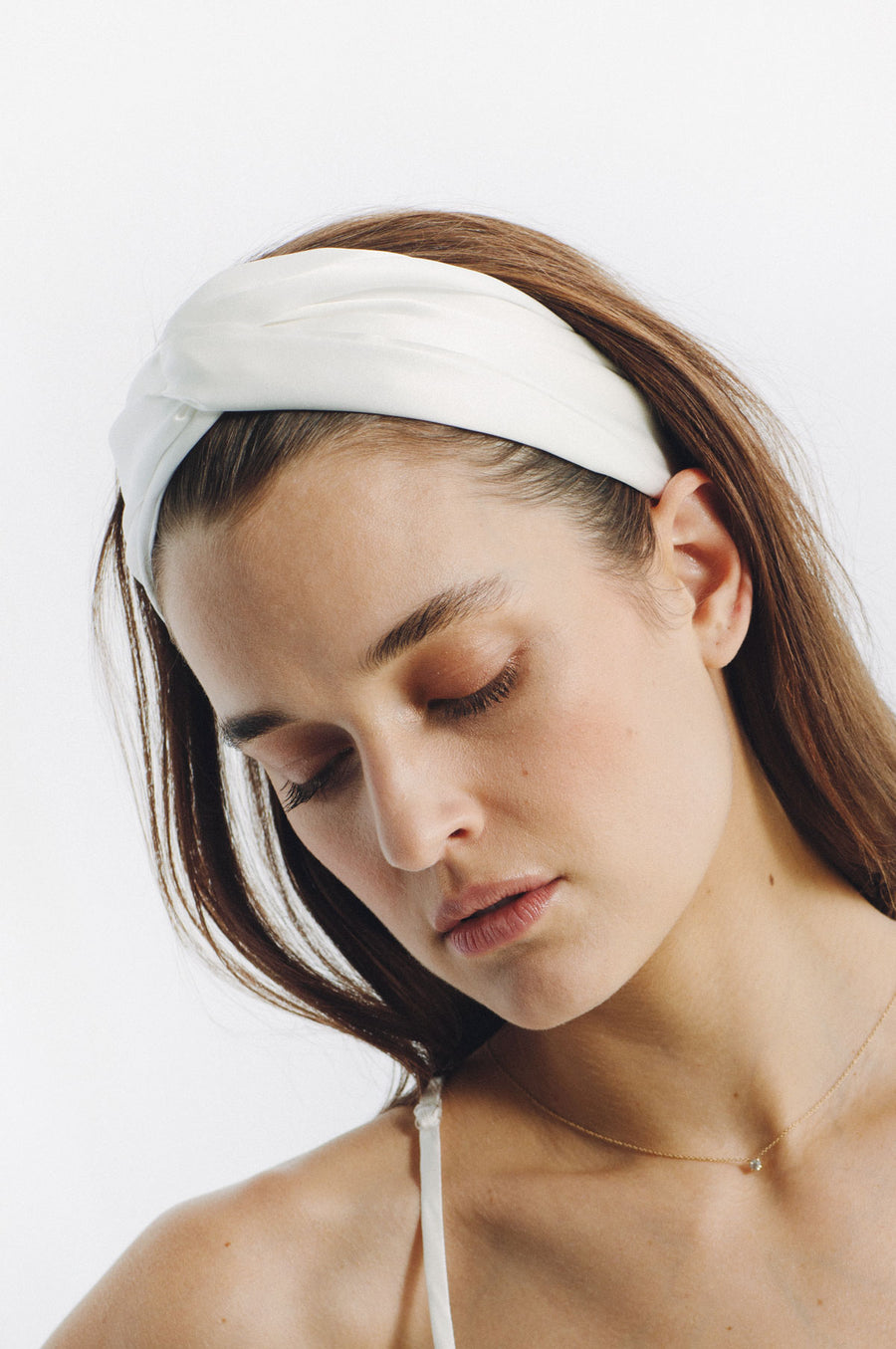 Silk Charmeuse 'Lovey' Headband: Ivory