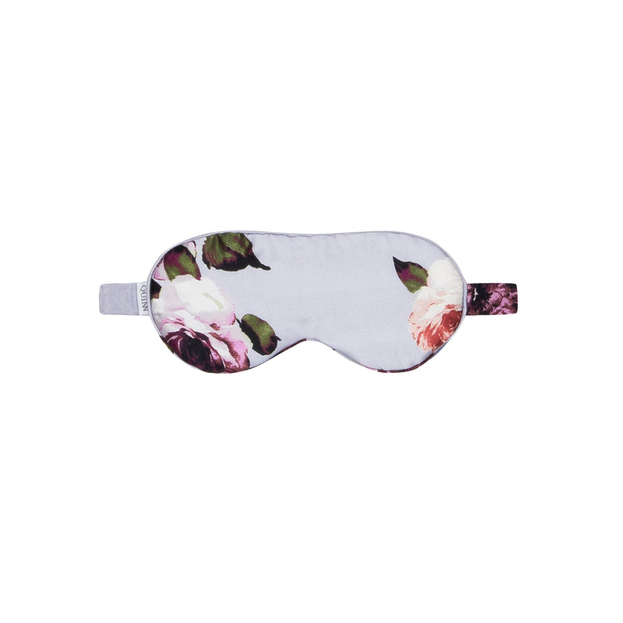 Silk Sleep Mask: Light Blue Floral Print