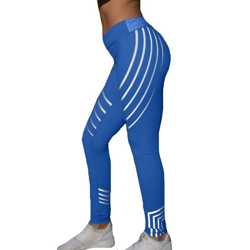 Fitness Stripe Printed Leggings Breathable Soft Pants - Legging Lovers
