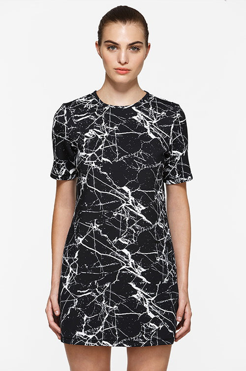 Short Sleeve Marble Graphic Dress