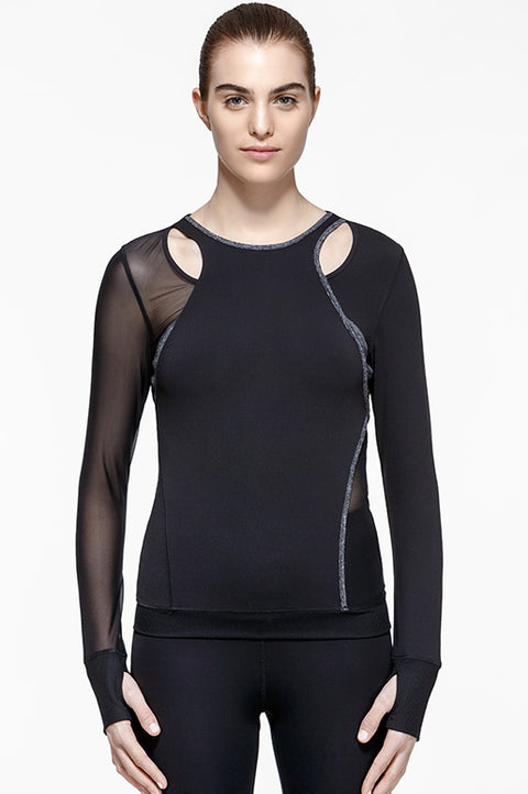 Mono Performance Cut-Out Shirt, Long Sleeve Tops, TITIKA ACTIVE