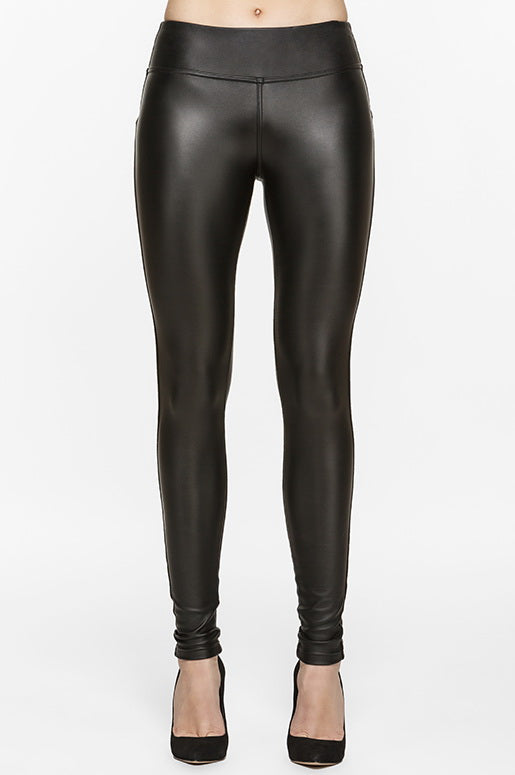 Diva Vegan Leather Fleece Legging, Leggings, TITIKA BLACK
