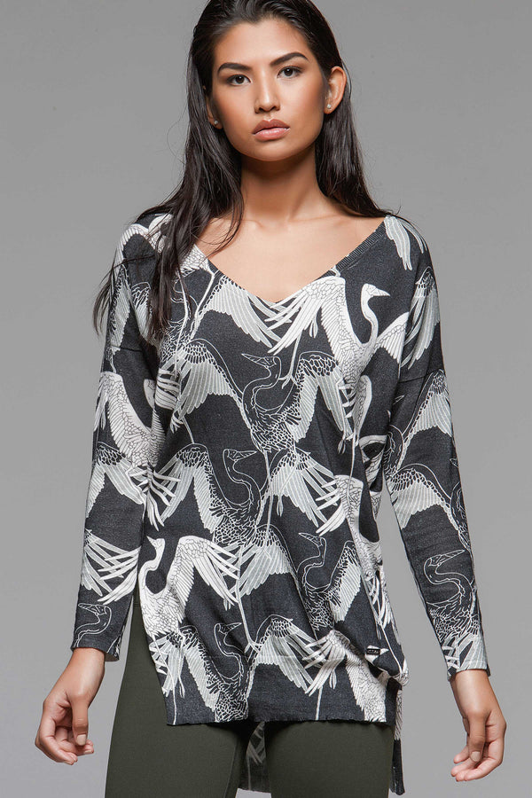 Graphic Deep V Sweater - Stork, Sweaters, TITIKA BLACK