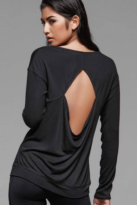 Lile Cut-Out Top, Long Sleeve Tops, TITIKA BLACK