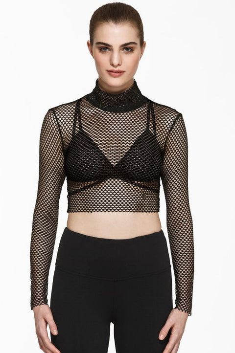 Brianne Mesh Crop, Long Sleeve Tops, TITIKA BLACK