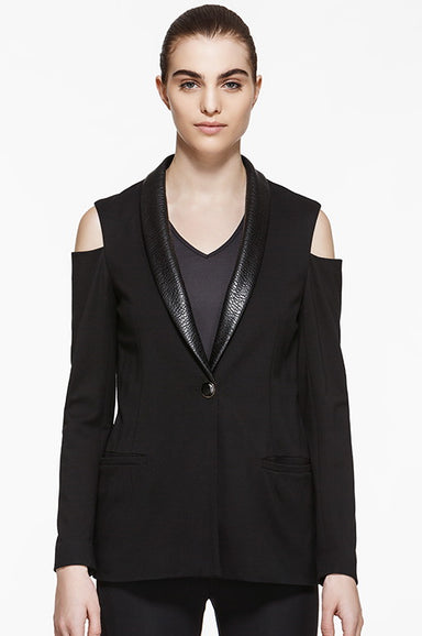 Ponte Cutout Vegan Leather Blazer, Jackets, TITIKA BLACK