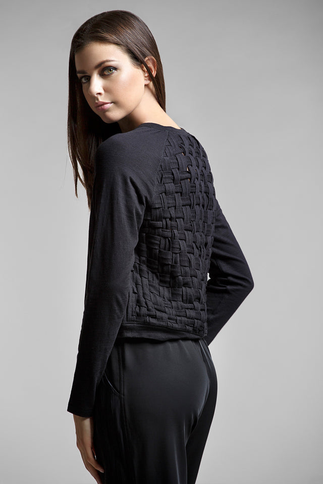 Ruby Long Sleeve Woven Sweatshirt, Sweatshirts, TITIKA BLACK