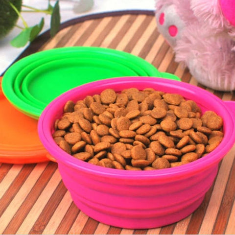 Pet Candy Colored Portable Collapsible Travel Feeding Bowl Water Dish