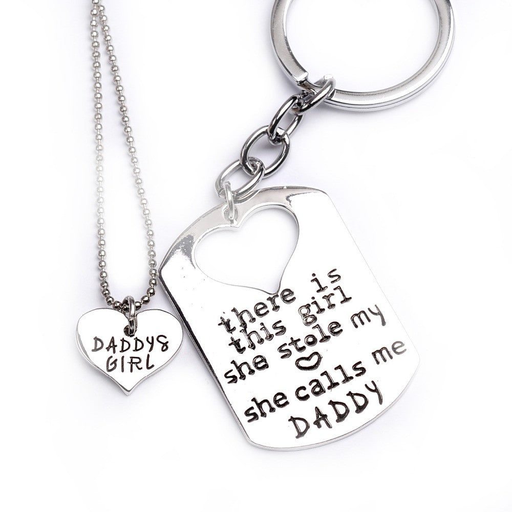 "Father Daughter necklace ""there is this girl she stole my heart she calls me daddy"""