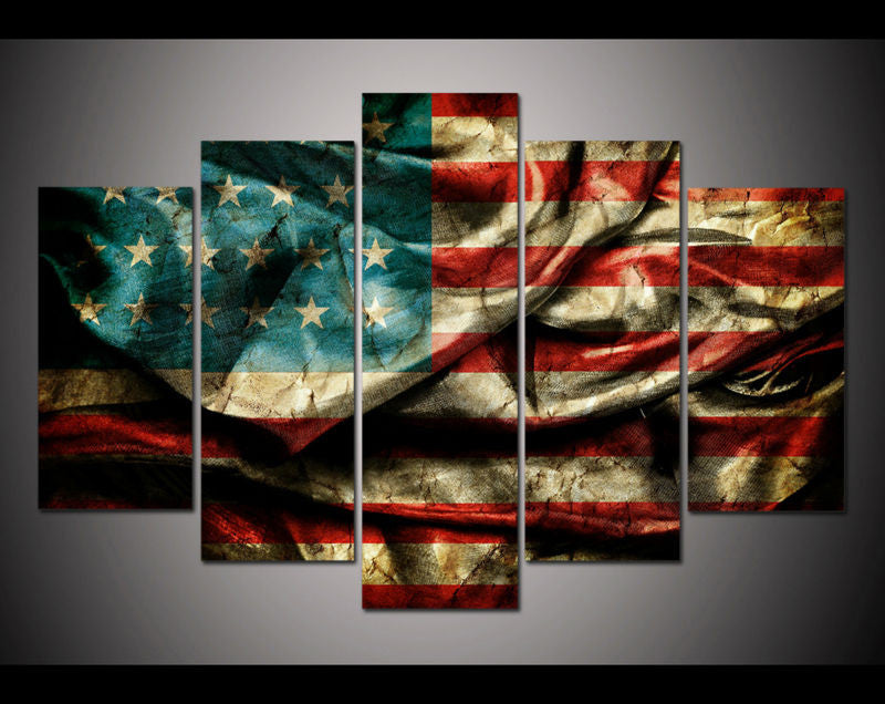 5 Panel Canvas Wall Art - Retro American Flag Canvas Print