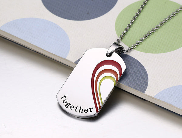 Stainless Steel Rainbow Necklace Pendant for Women and Men