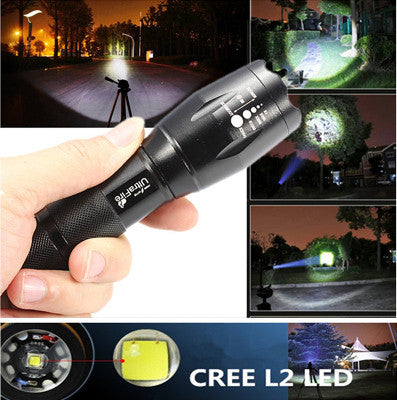 CREE XM-L T6 LED 3800 Lumnes 5 Mode Zoomable Waterproof Tactical Flashlight