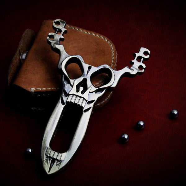 Powerful Hunting Catapult Slingshot and Geninue Leather Steel Ball Ammo Pouch Bag