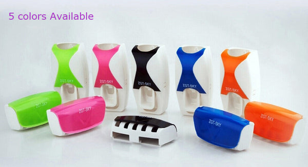 Fashionable Automatic Toothpaste Dispenser Plus Dust Proof Toothbrush Holder