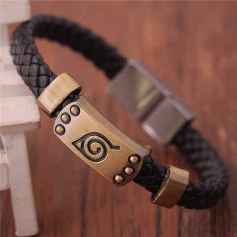 Naruto Bracelet Leaf Mark Brown Wristband