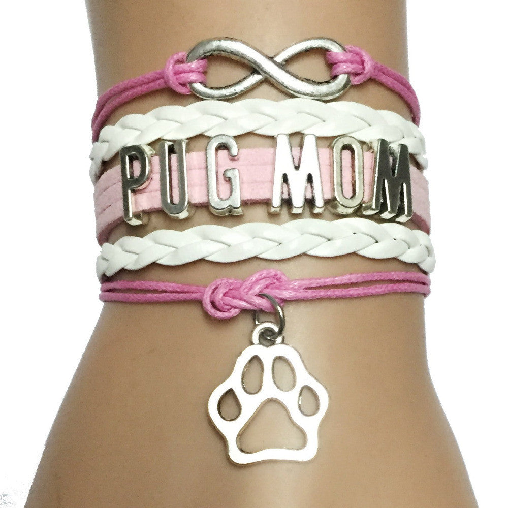 Infinity Pug Mom Handmade Leather Bracelet