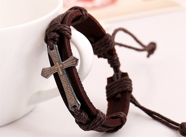 Genuine Leather Bible Scripture Cross Bracelet