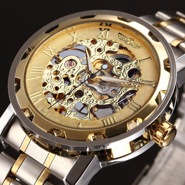 Mens Skeleton Mechanical Hand Wind Watches Stainess Wristwatch
