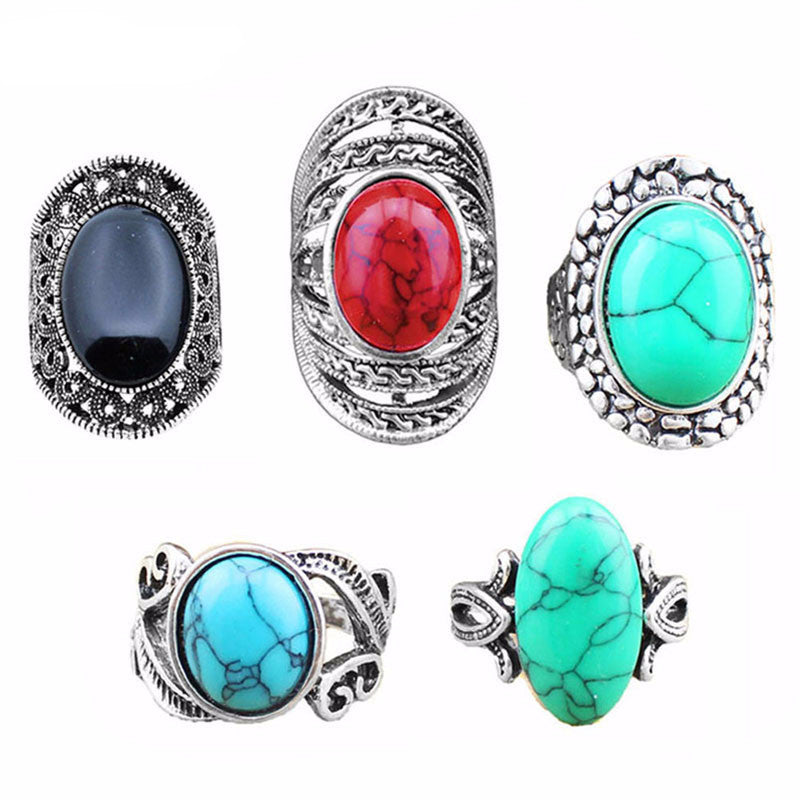 5 Piece Retro Vintage Look Silver Plated Assorted Turquoise Ring Set