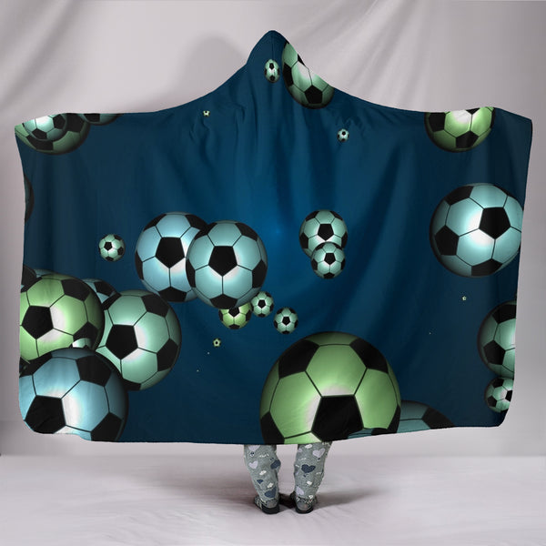 Floating Soccer Balls Hooded Blanket