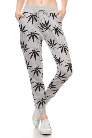 Leaf Print Jogging Sweat Pants