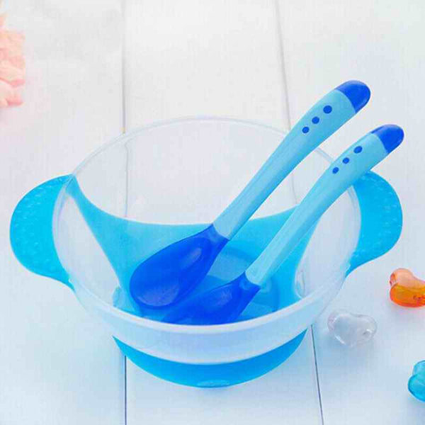 Baby Training Dishes With Suction Cup and Temperature Sensing Spoon