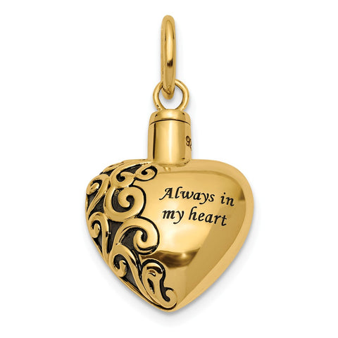 14K Heart Remembrance Ash Holder Pendant