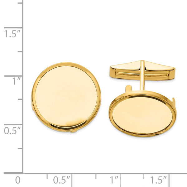 14k  1/10oz American Eagle Polished Plain Bezel Cuff Links Mounting