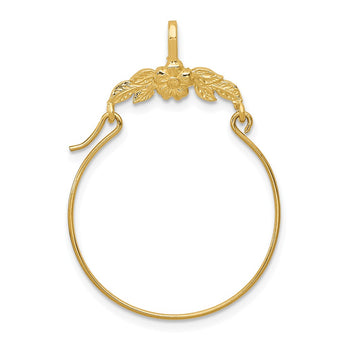 14k Polished Floral Charm Holder