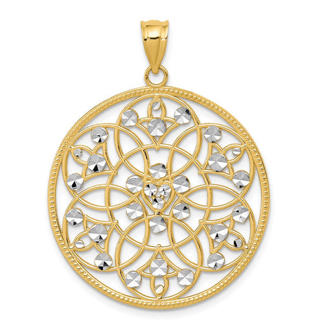 14K and Rhodium Diamond-cut Circle Pendant