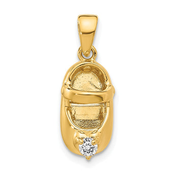14k 3-D April/Synthetic Stone Engraveable Baby Shoe Charm