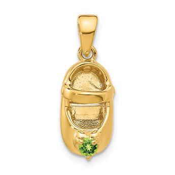14k 3-D August/Synthetic Stone Engraveable Baby Shoe Charm