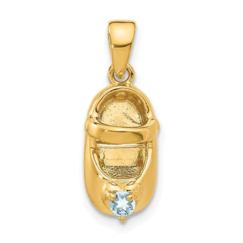 14k 3-D March/Synthetic Stone Engraveable Baby Shoe Charm