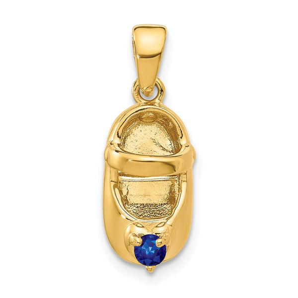 14k 3-D September/Synthetic Stone Engraveable Baby Shoe Charm